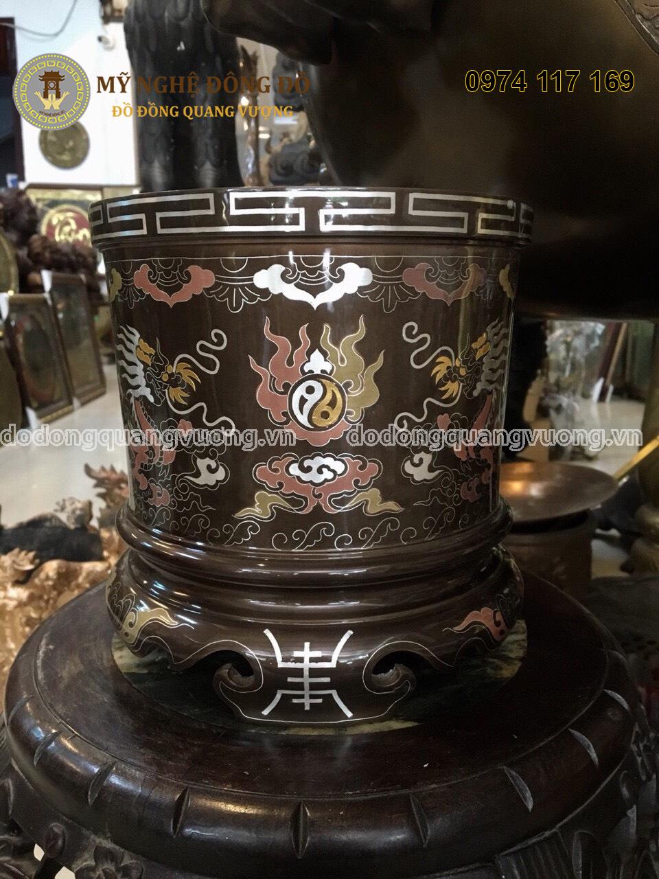 Bát hương bằng đồng khảm ngũ sắc cao 20cm