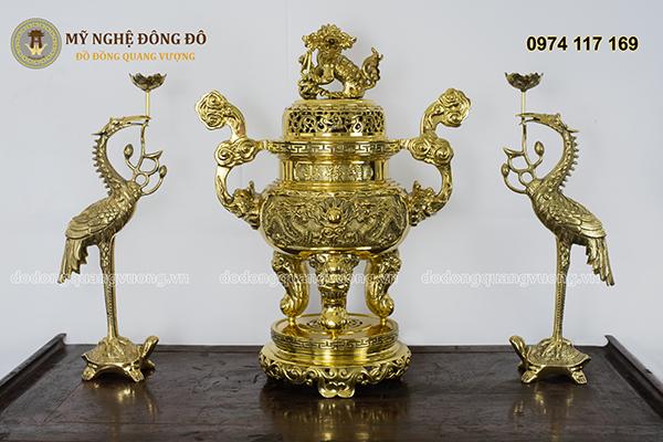 Bộ Đỉnh Đồng Tam Sự Đồng Vàng Chạm Rồng Nổi