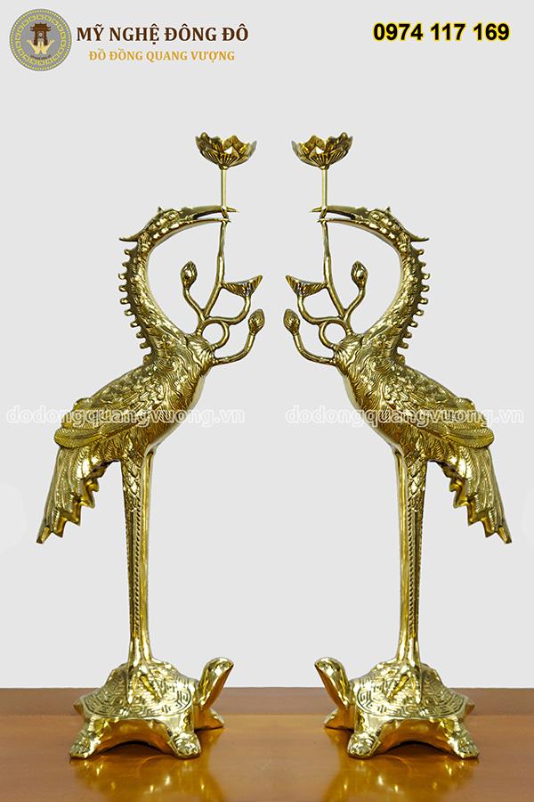 Bộ đỉnh thờ cúng bằng đồng vàng bóng kèm đôi hạc