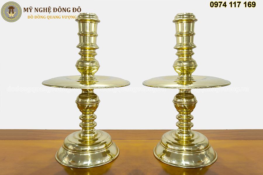 Bộ đỉnh thờ cúng bằng đồng vàng bóng đôi nến