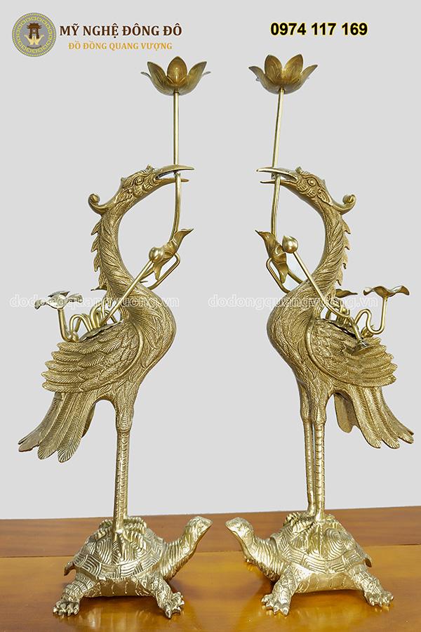 Bộ đỉnh thờ cúng rồng chầu đồng nguyệt đôi hạc