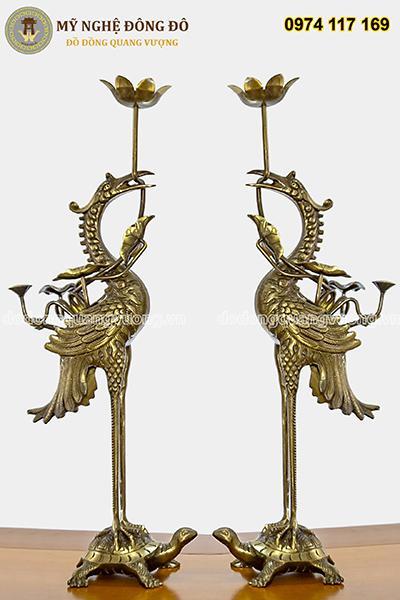 Bộ đồ Thờ Đầy Đủ Bằng Đồng Vàng Hun - ảnh đôi hạc