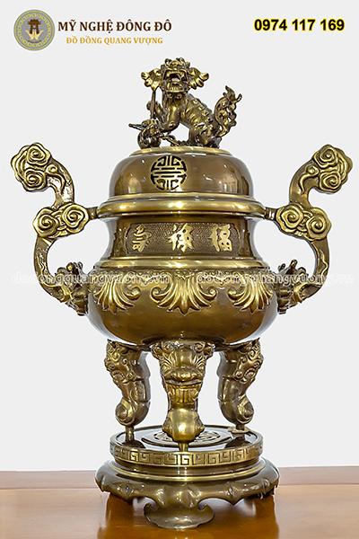Bộ đồ Thờ Đầy Đủ Bằng Đồng Vàng Hun - 70cm Chạm Hoa Sòi.