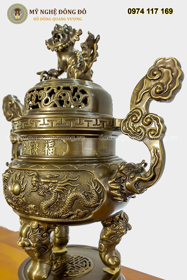 Đỉnh thờ bằng đồng vàng hun giả cổ