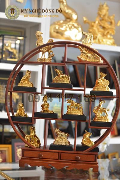 Đồ đồng 12 con giáp mạ vàng