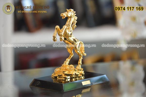 Ngựa bằng đồng mạ vàng cao 25cm