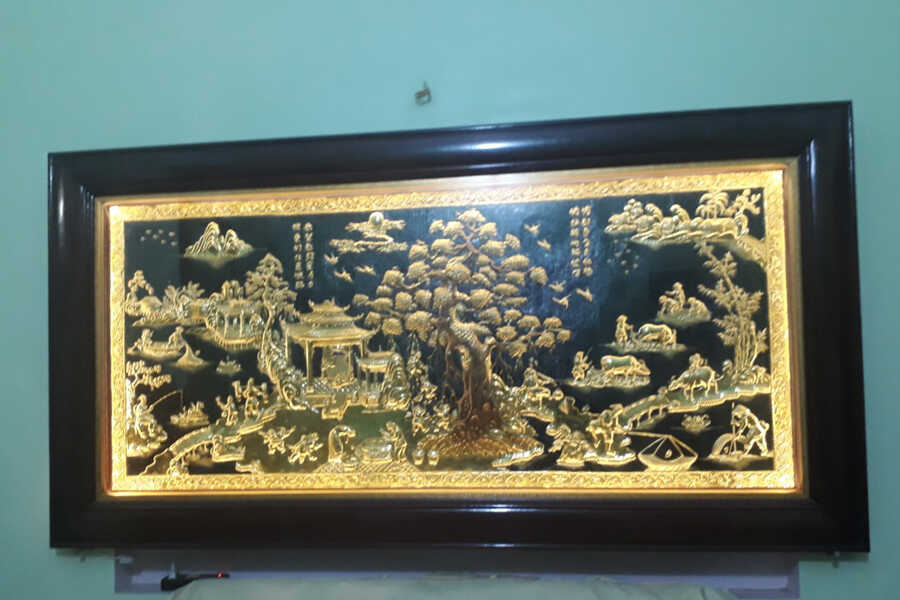 Tranh Đồng Quê bằng đồng 2m3 khung gỗ