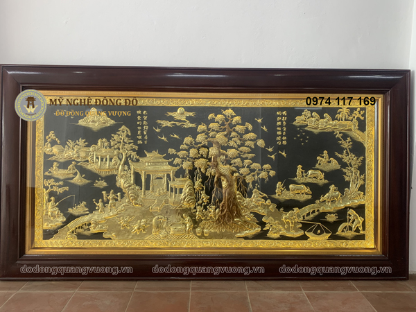 Tranh đồng que dát vàng 24k