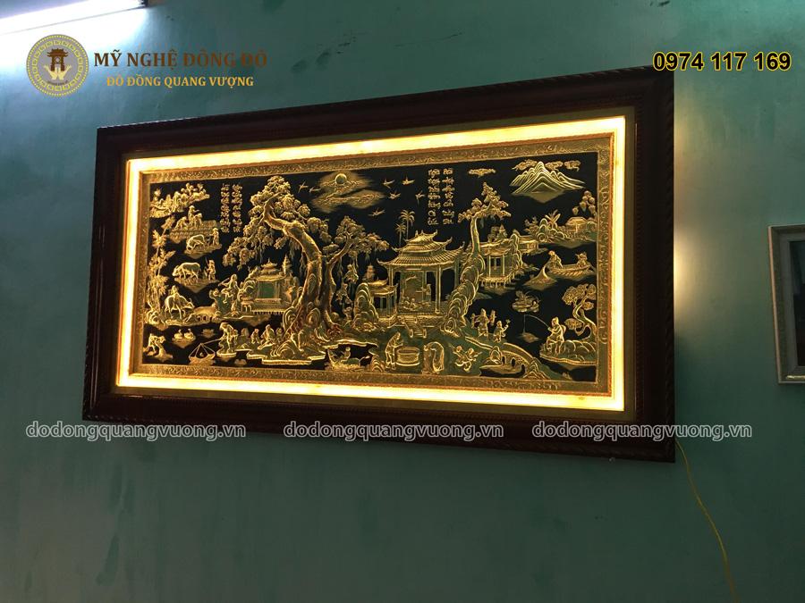 Tranh đồng quê khung gỗ 1m7 đèn led