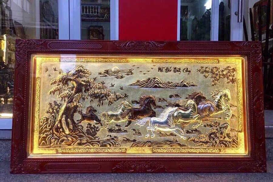 Tranh Mã Đáo Thành Công đồng vàng nền xước KT 1m70