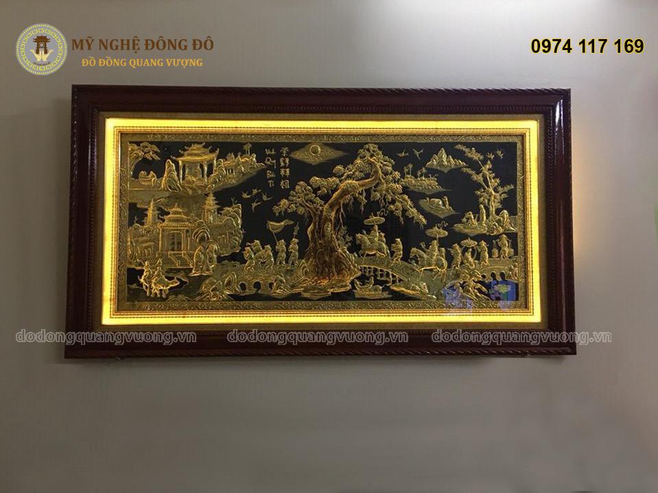 Tranh Vinh Quy Bái Tổ bằng đồng vàng đèn led
