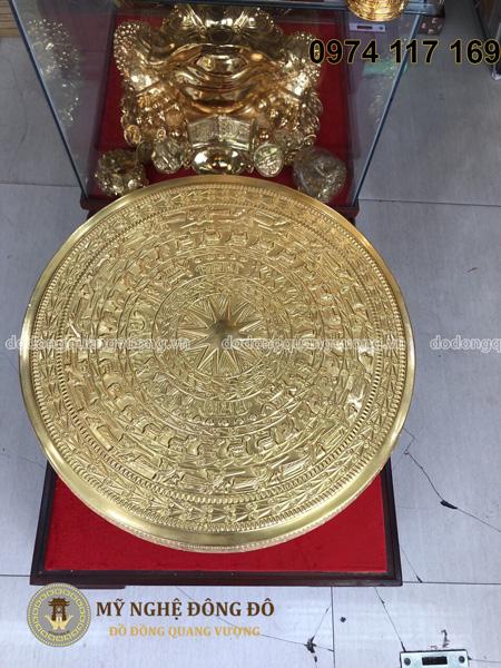Mặt trống bằng đồng vàng gò thủ công