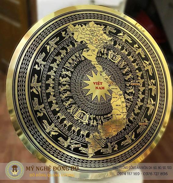 Mặt trống đồng ăn mòn hoa văn bản đồ Việt Nam